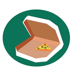pizza slice in box on white background vector image