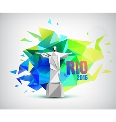 Rio 2016 poster bannr with statue and faceted vector image