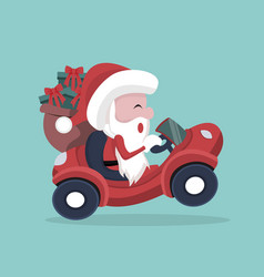 santa claus carrying gifts in his car vector image