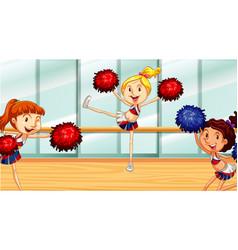 Scene with cheerleaders practicing in room vector