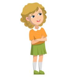 Schoolgirl standing alone back to school concept vector