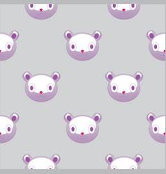 seamless pattern with plush teddy head cute vector image