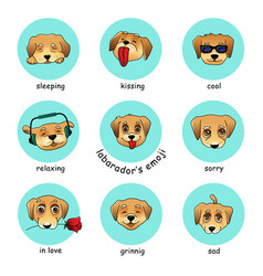 Set of round stickers emojis with dog vector