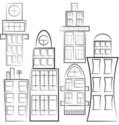 set of separated buildings outlined vector image