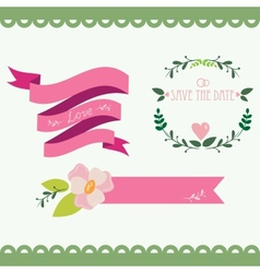 Set of vintage flowers and ribbons vector image