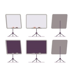 Set of white and black boards on the stand vector