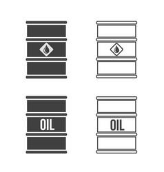 Set oil barrel icon flat sign vector