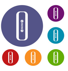 sewn rectangular button icons set vector image