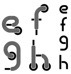 Shoelace alphabet lower case letters e f g h vector