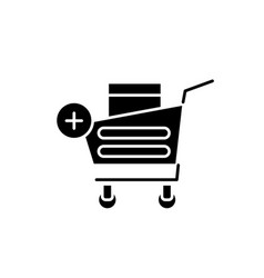 shopping online black icon sign on vector image