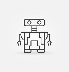 Small robot concept icon in thin line style vector