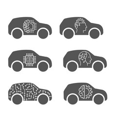 smart car icons set unmanned machines in flat vector image