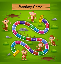 Snakes and ladders game monkey theme vector
