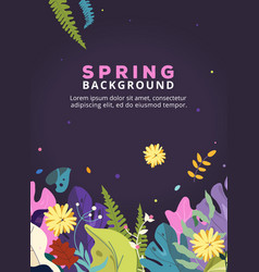 spring background with leaves flowers for poster vector image
