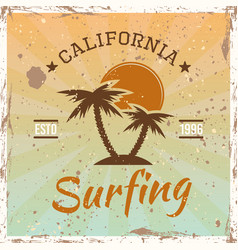 surfing colored vintage emblem with palms vector image
