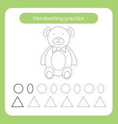 Teddy bear kids toys theme handwriting practice vector