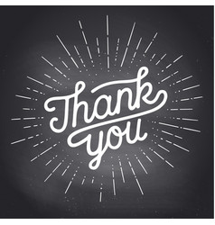 thank you hand lettering you with sunburst vector image