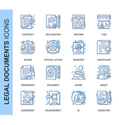 thin line legal documents related icons set vector image