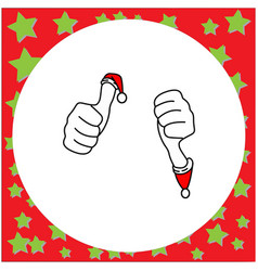 thumbs up and thumbs down with santa claus red vector image