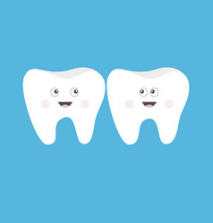 tooth icon set cute funny cartoon smiling vector image