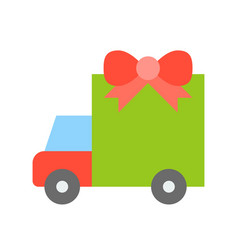 Truck with giftbox christmas related flat style vector
