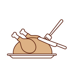 turkey fork and knife dinner food for thanksgiving vector image
