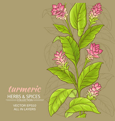 Turmeric flower background vector