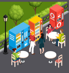 vending machines isometric vector image
