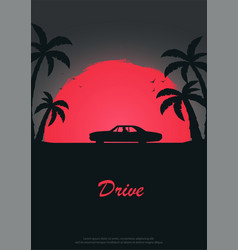 vintage poster with old car sunset at the vector image