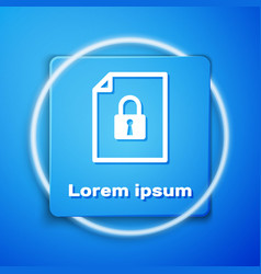White document and lock icon isolated on blue vector