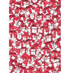 white gift boxes and red bows ribbons holiday vector image