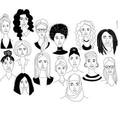 womens head seamless border background grunge vector image