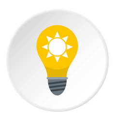 Yellow light bulb with sun inside icon circle vector