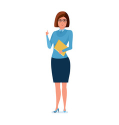 Young teacher in strict work clothes with magazine vector