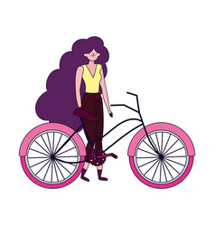 young woman riding bike ecology concept vector image