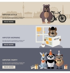 Animal Hipster Banner Set vector image vector image