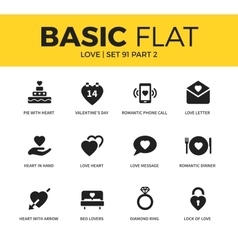 Basic set of love icons vector image vector image