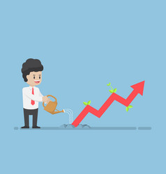 businessman watering business graph that growth vector image