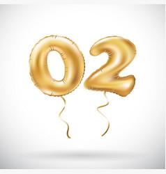 golden number 02 zero two metallic balloon party vector image vector image