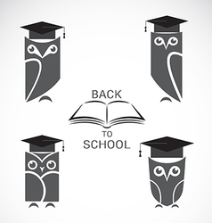 image of an owl with college hat and book vector image