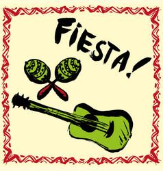 mexican fiesta party invitation with maracas vector image vector image