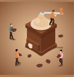 miniature people grinding coffee beans in machine vector image