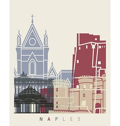 Naples skyline poster vector image vector image