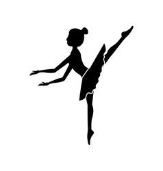 silhouette dancer pose fifth arabesque vector image vector image
