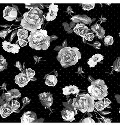 Vintage monochrome roses pattern vector image vector image
