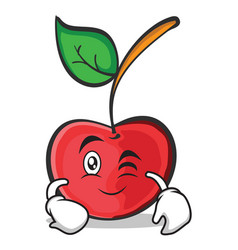 wink face cherry character cartoon style vector image