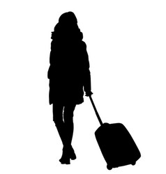 woman silhouette with trolley vector image vector image
