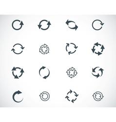 black refresh icons set vector image