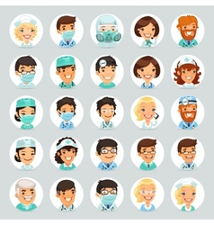 Doctors Cartoon Characters Icons Set2 vector image vector image
