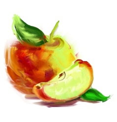 drawing apple with a slice vector image vector image